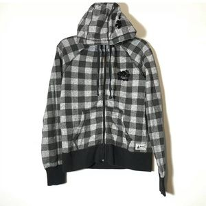 Roots Canada Gray Plaid Hood Zip Jacket Size Small